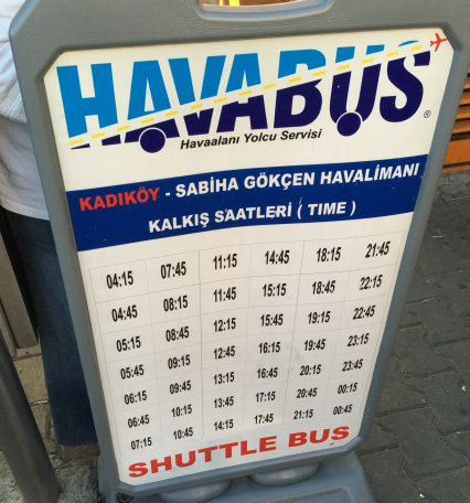 Schedule Havabus Kadiköy to SAW airport