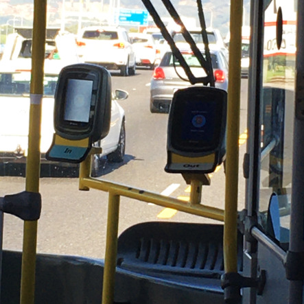Kartenlesegeräte im Mycity-Bus in Kapstadt